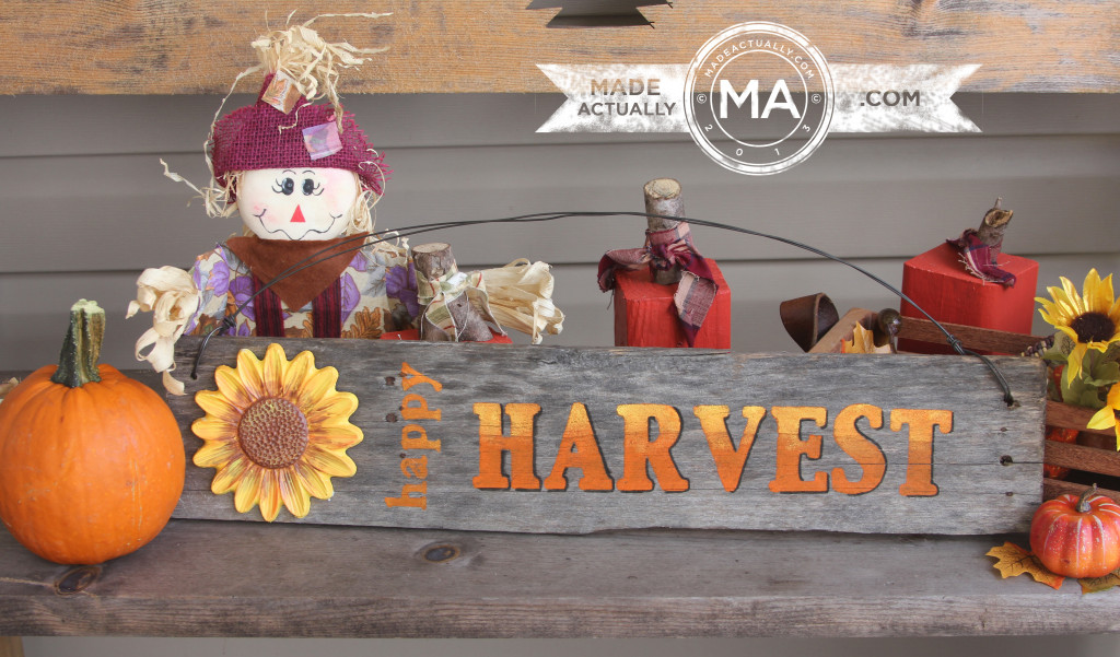 Happy Harvest Sign Made From Recycled Wood