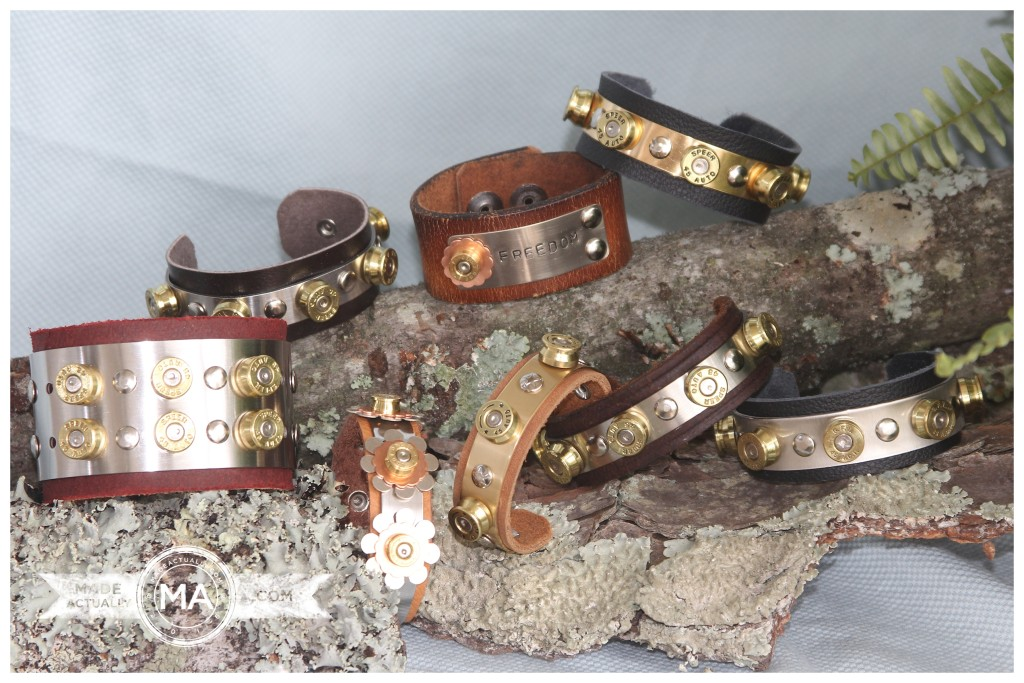 Upcycled Bullet Casing and Leather Cuff Bracelets
