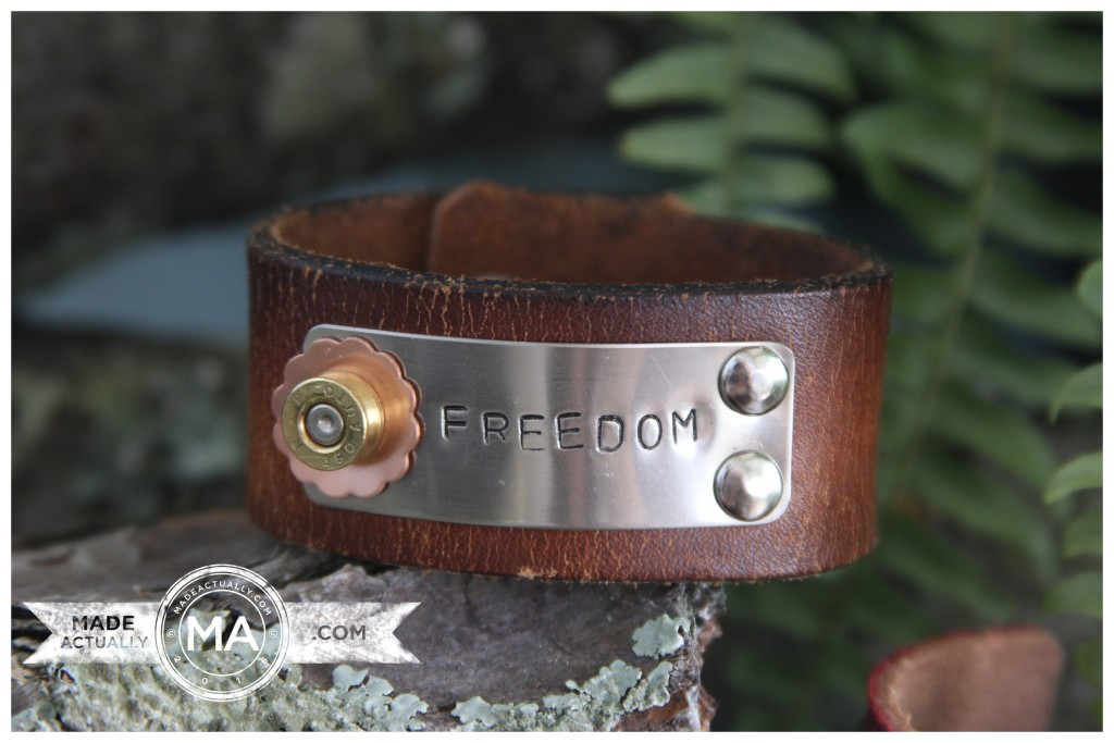 Upcycled Bullet Casing and Leather Bracelet