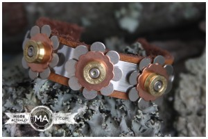 Upcycled Bullet Casing and Leather Bracelet With Flowers