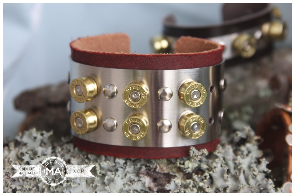 Wide Stainless Steel and Upcycled Bullet Casing Cuff Bracelet