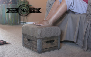 Upcycled milkcrate repurposed into a foot stool