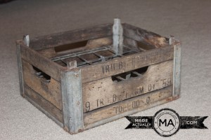 Antique Milk Crate Upcycled Footstool