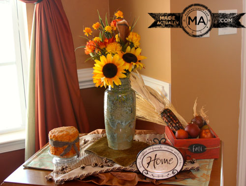 Fall Decorations on the tea cart