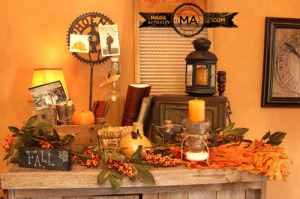 Fall Decorations on top of a cabinet made from old recycled wood