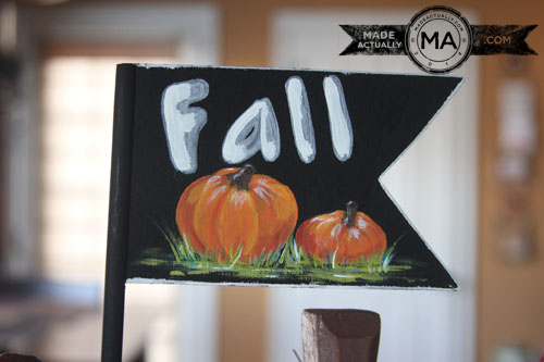 Wooden fall flag with handpainted pumpkins