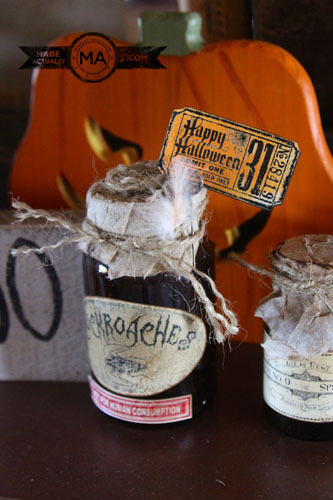 Halloween Potion Bottles made from upcycled supplement bottles