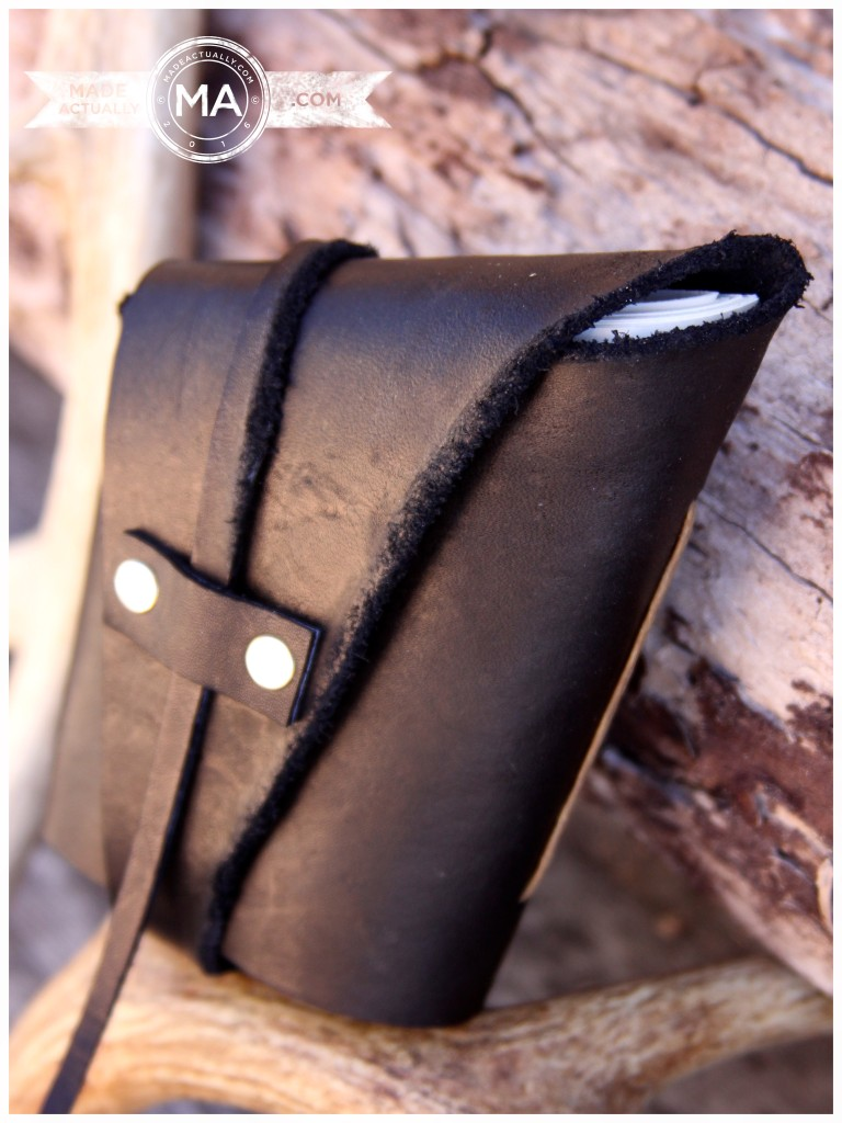 Handmade Black Leather Wrap Journal